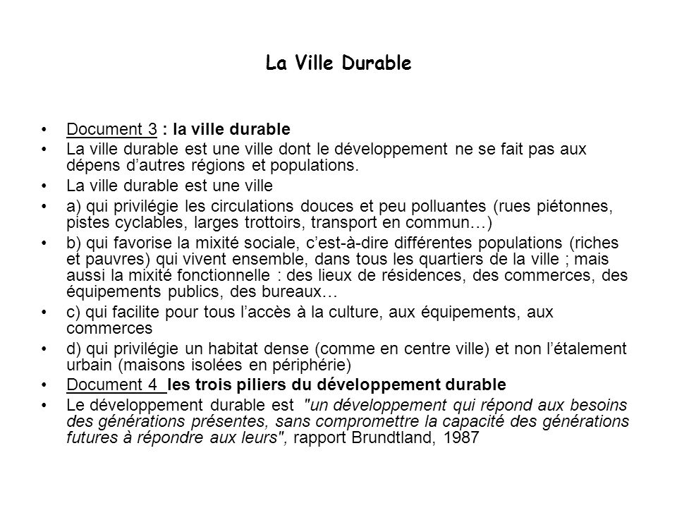 La Ville Durable Document 3 : la ville durable