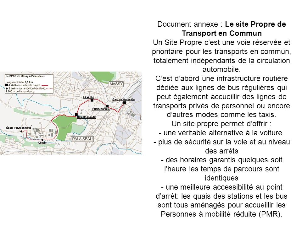 Document annexe : Le site Propre de Transport en Commun
