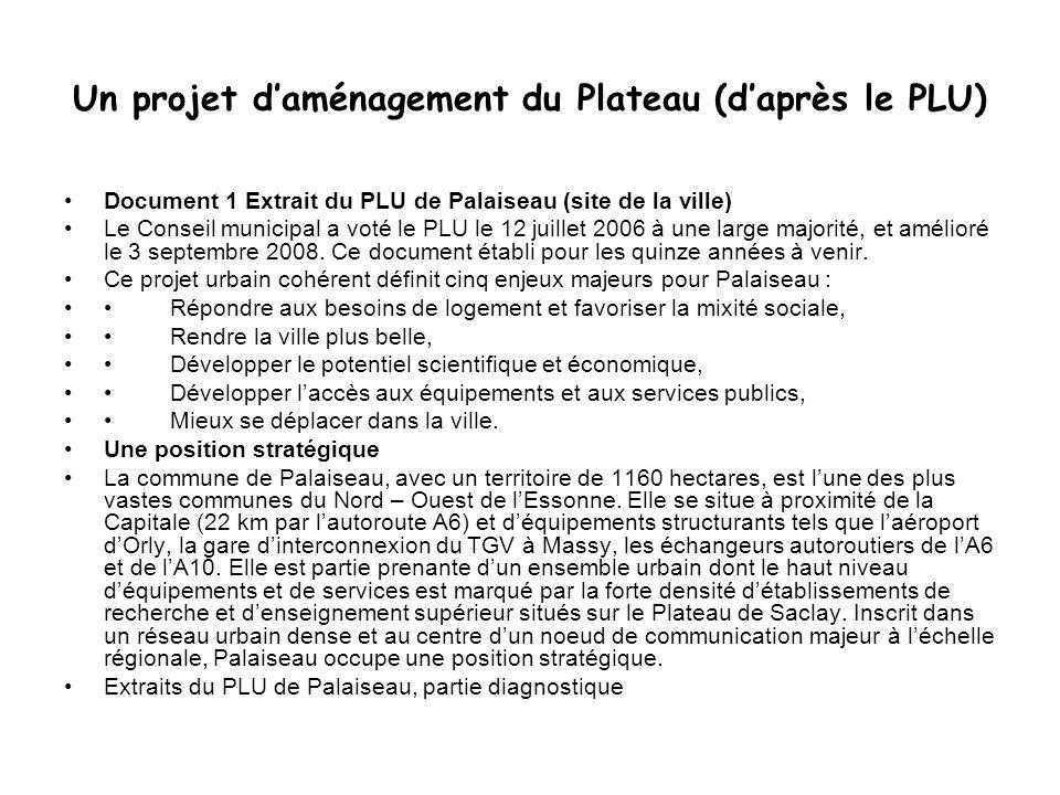 Un projet d'aménagement du Plateau (d'après le PLU)