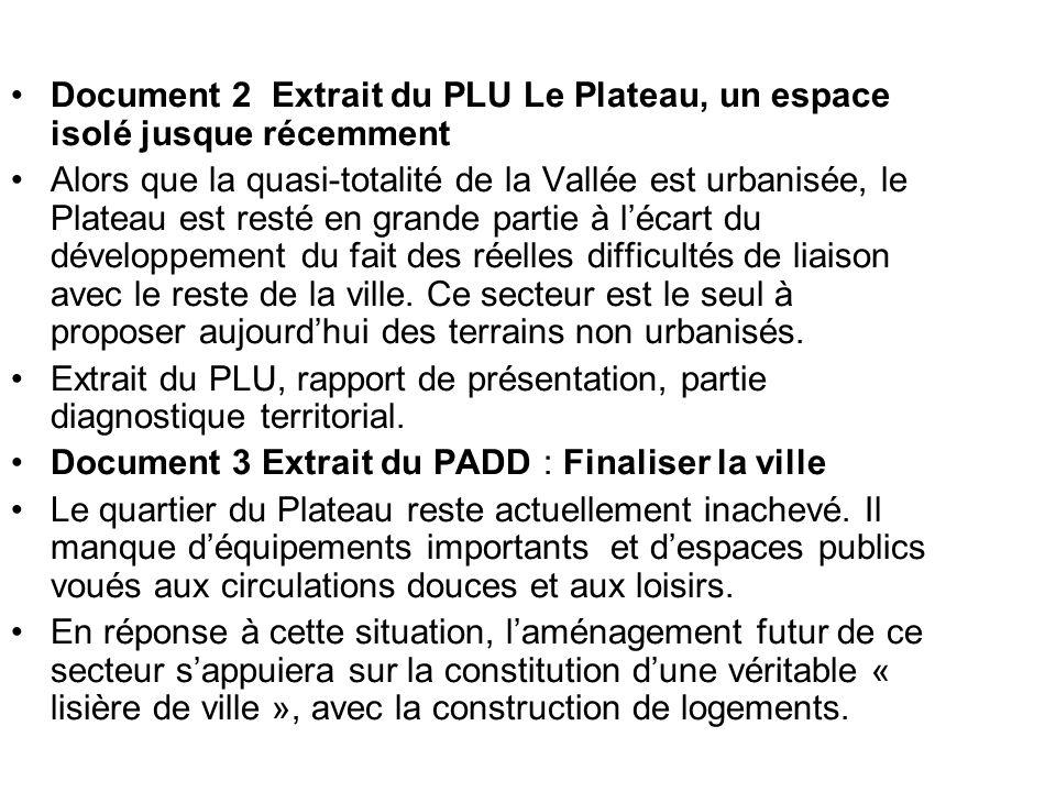 Document 2 Extrait du PLU Le Plateau, un espace isolé jusque récemment