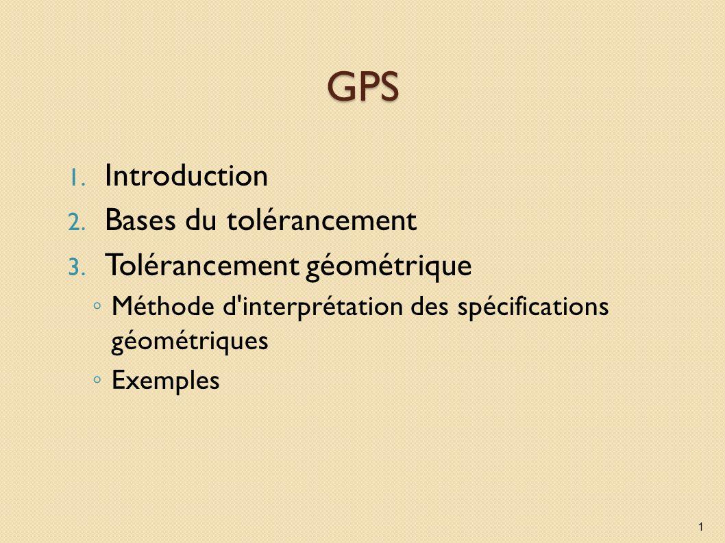 GPS Introduction Bases du tolérancement Tolérancement géométrique