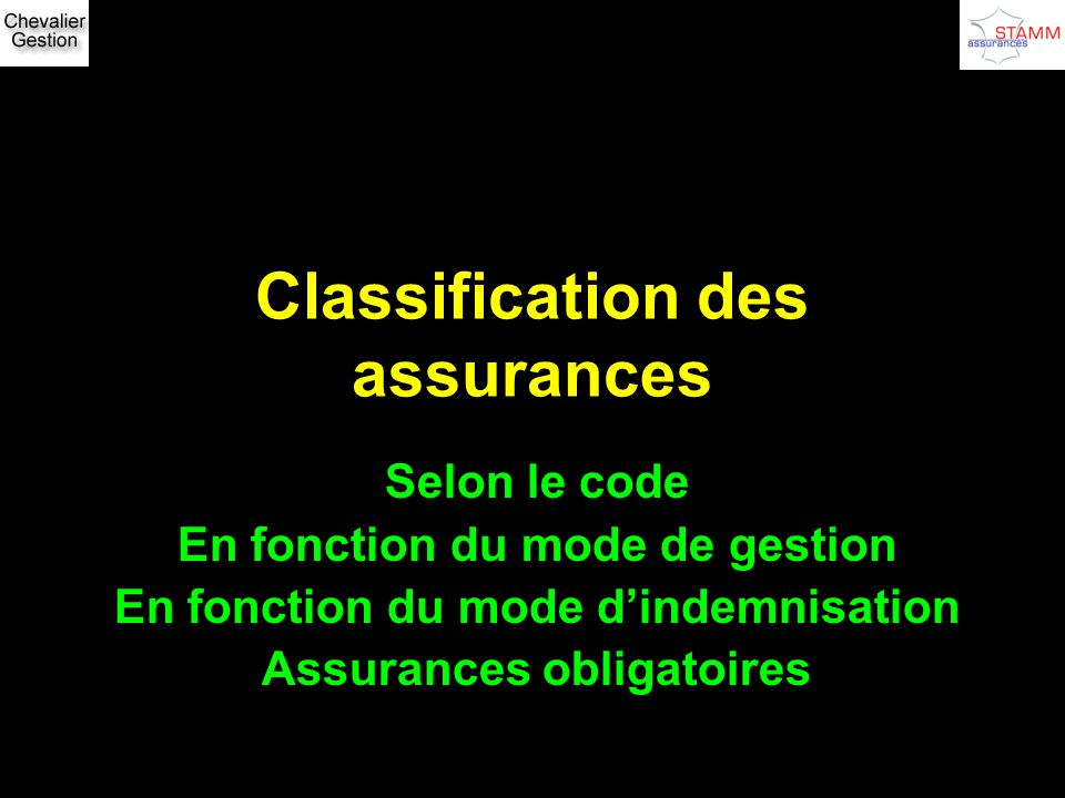 Classification des assurances