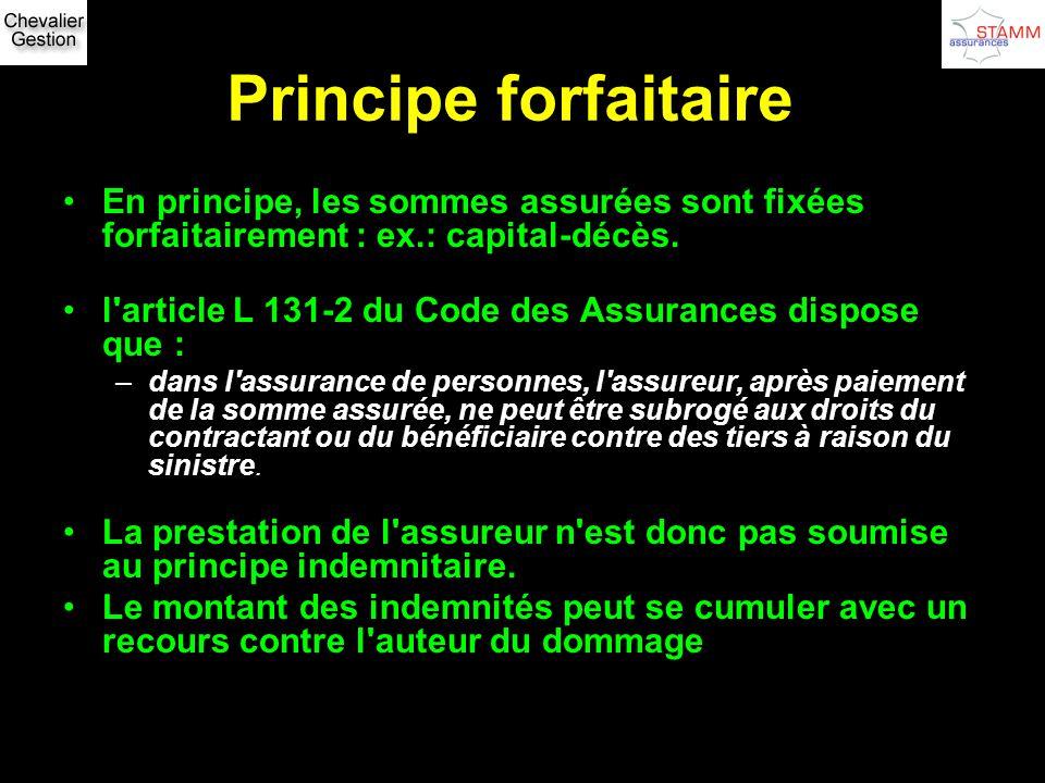 Principe forfaitaire En principe, les sommes assurées sont fixées forfaitairement : ex.: capital-décès.
