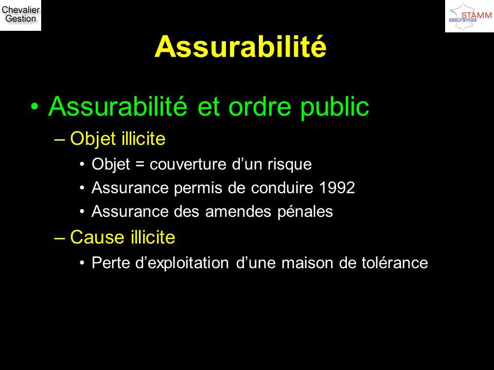 Assurabilité Assurabilité et ordre public Objet illicite