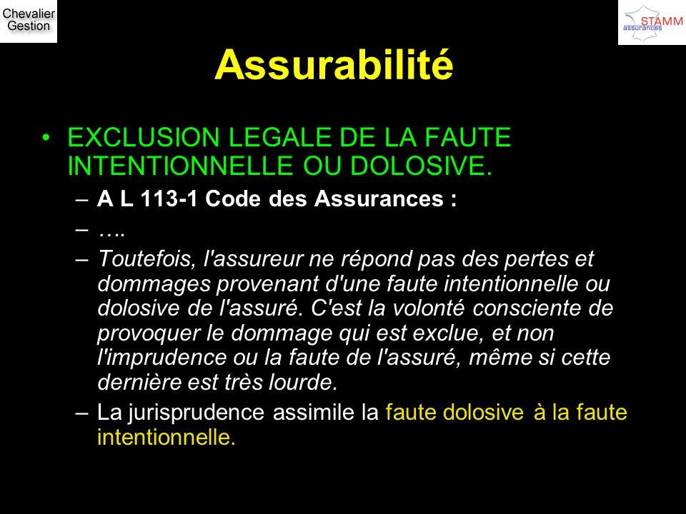 Assurabilité EXCLUSION LEGALE DE LA FAUTE INTENTIONNELLE OU DOLOSIVE.