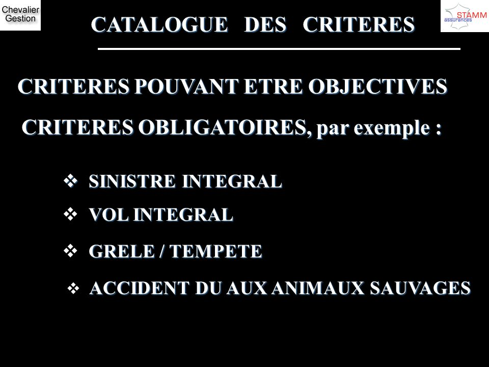 CATALOGUE DES CRITERES