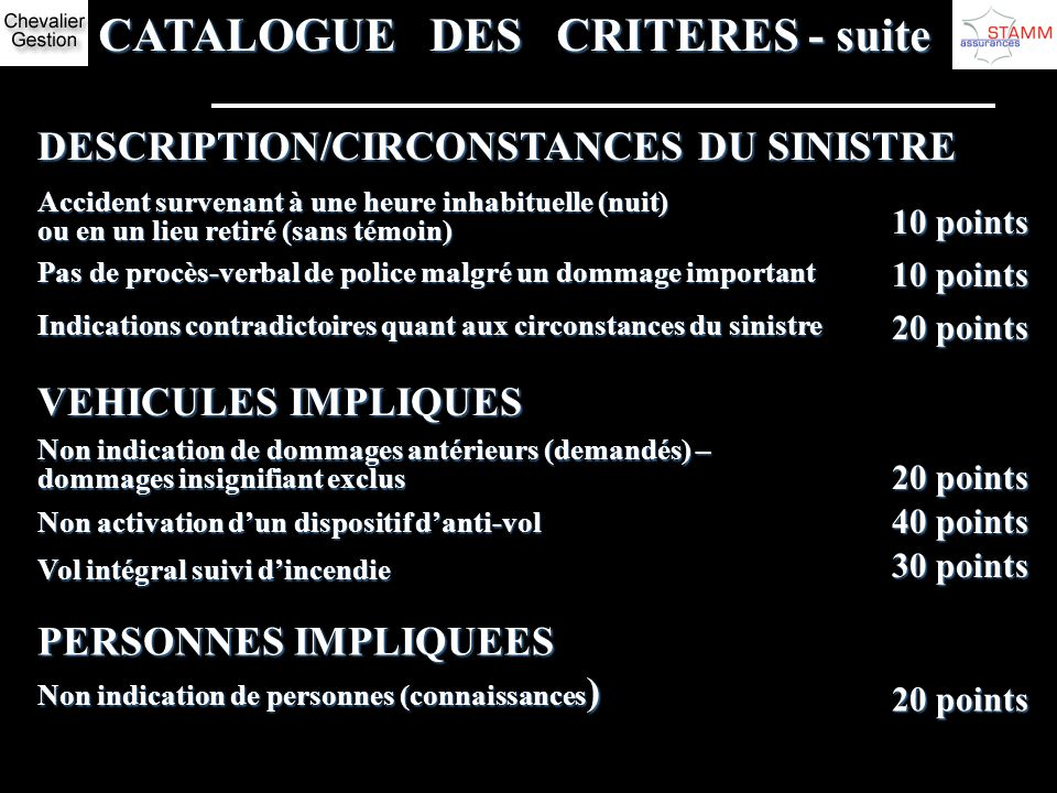CATALOGUE DES CRITERES - suite