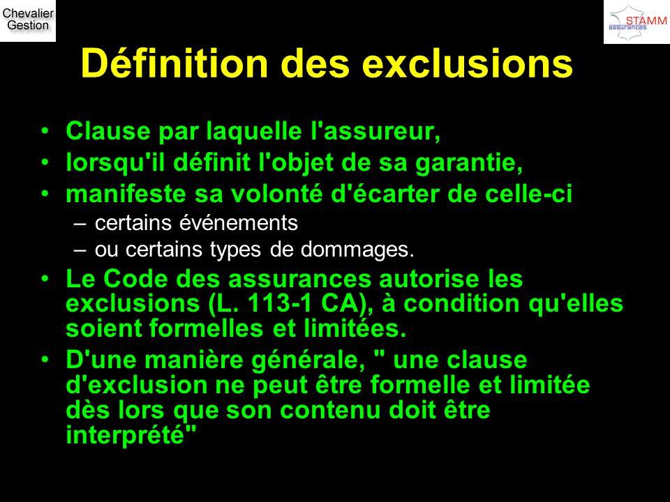 Définition des exclusions