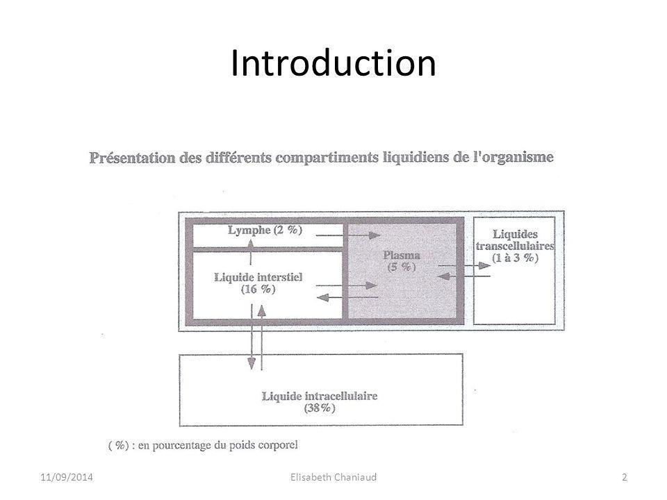 Introduction 2 compartiments - intracellulaire - extracellulaire