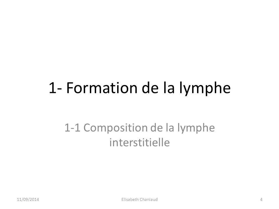 1- Formation de la lymphe