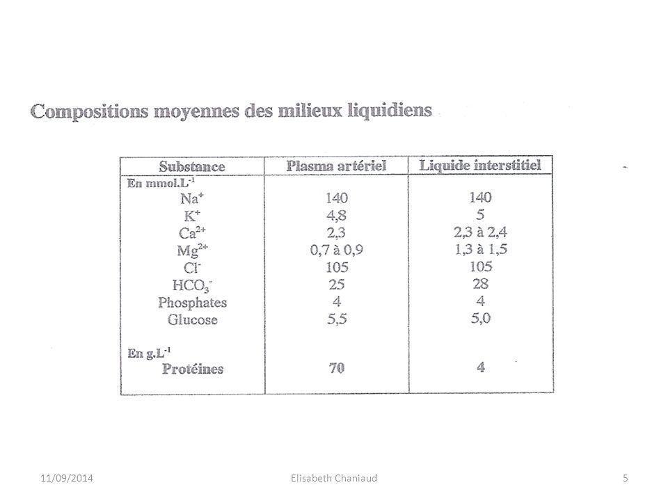 Similitude de composition entre plasma et lymphe sauf pour les protéines.