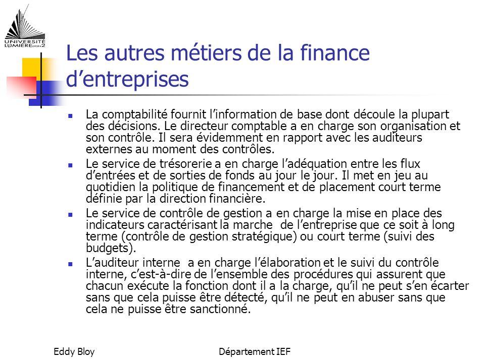 Les autres métiers de la finance d'entreprises