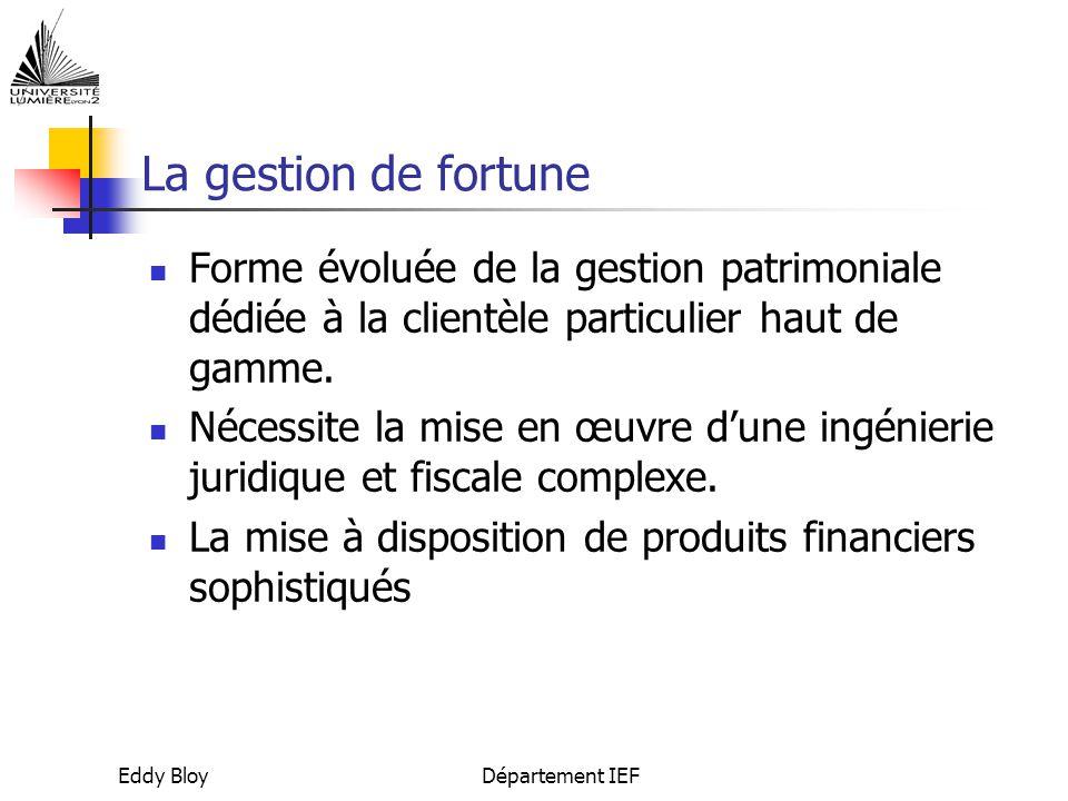 La gestion de fortune Forme évoluée de la gestion patrimoniale dédiée à la clientèle particulier haut de gamme.