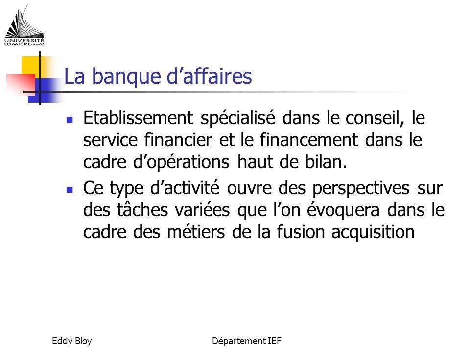 La banque d'affaires Etablissement spécialisé dans le conseil, le service financier et le financement dans le cadre d'opérations haut de bilan.