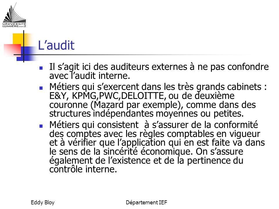 L'audit Il s'agit ici des auditeurs externes à ne pas confondre avec l'audit interne.