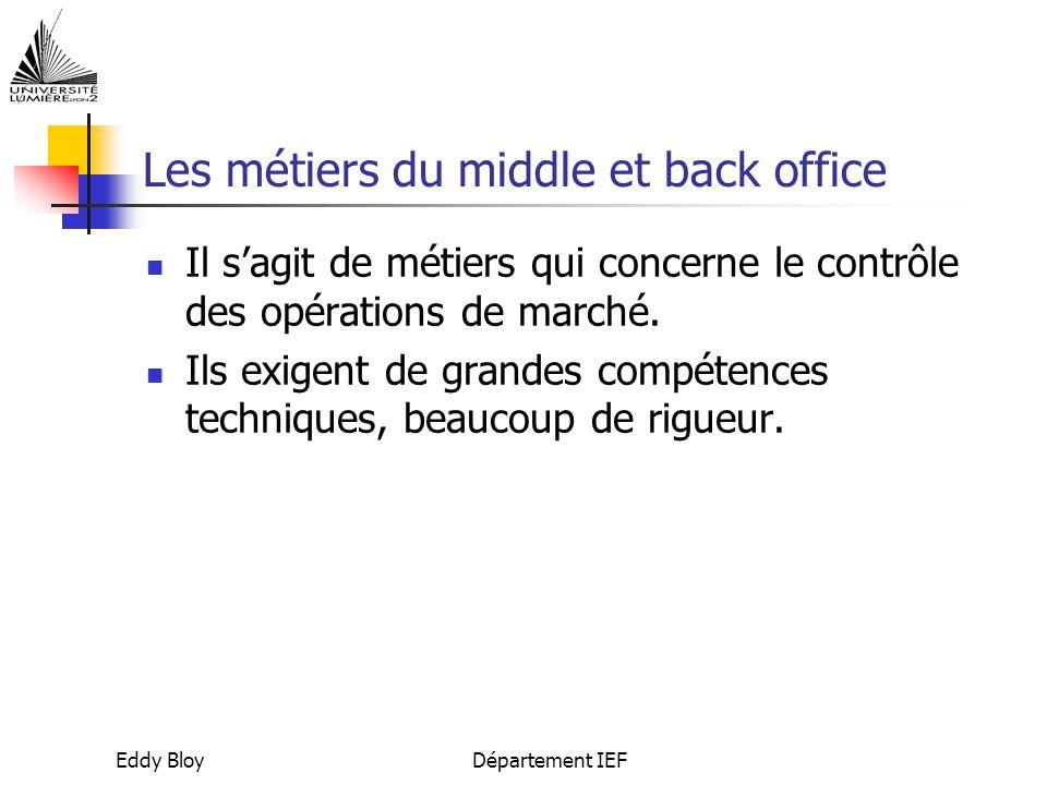 Les métiers du middle et back office