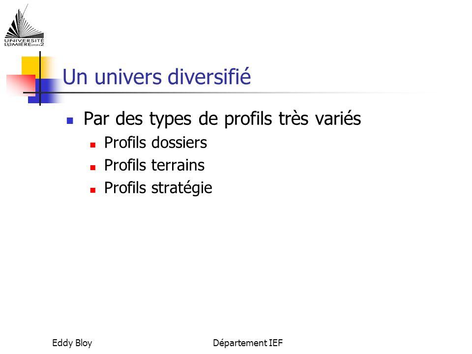Un univers diversifié Par des types de profils très variés
