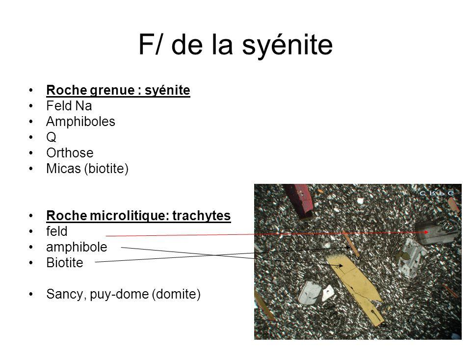 F/ de la syénite Roche grenue : syénite Feld Na Amphiboles Q Orthose