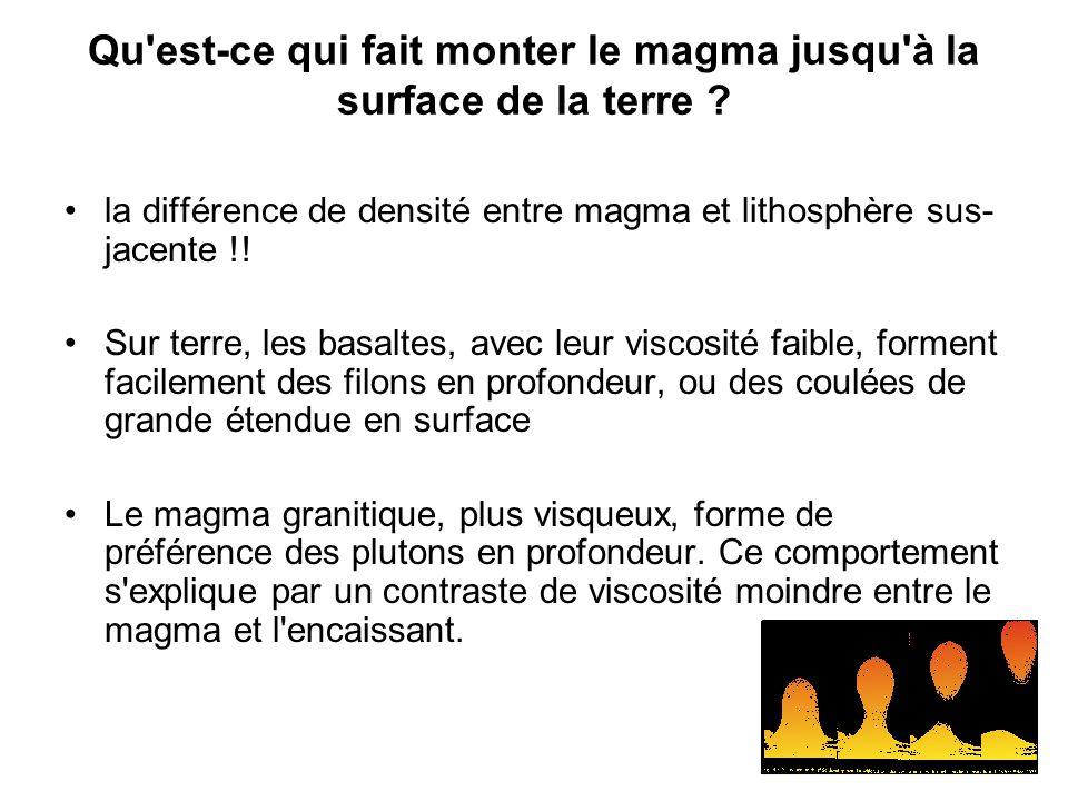 Qu est-ce qui fait monter le magma jusqu à la surface de la terre