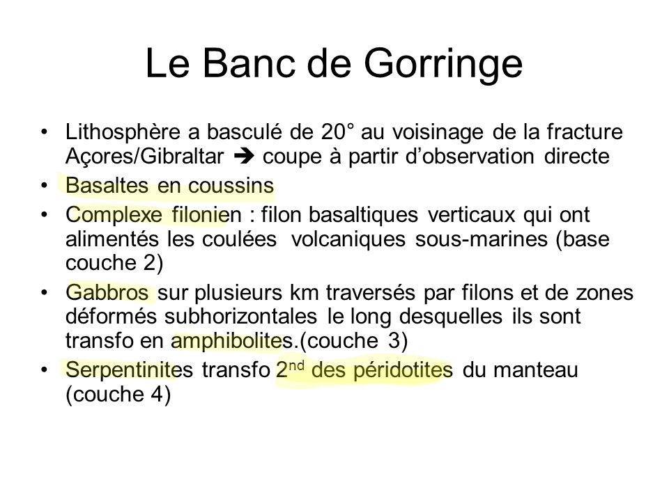 Le Banc de Gorringe Lithosphère a basculé de 20° au voisinage de la fracture Açores/Gibraltar  coupe à partir d'observation directe.