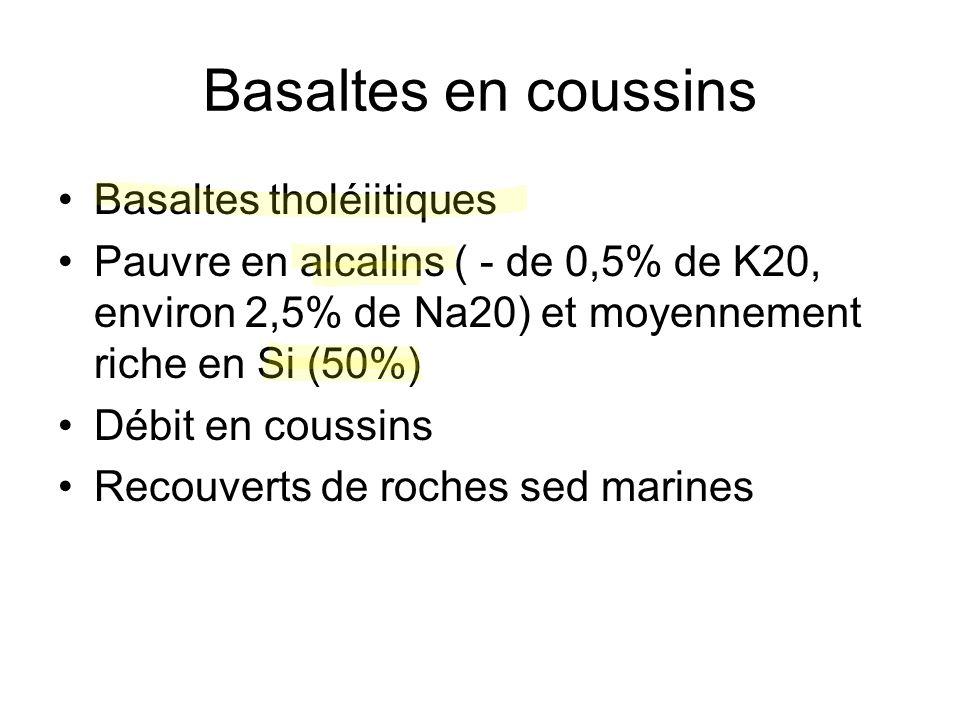 Basaltes en coussins Basaltes tholéiitiques