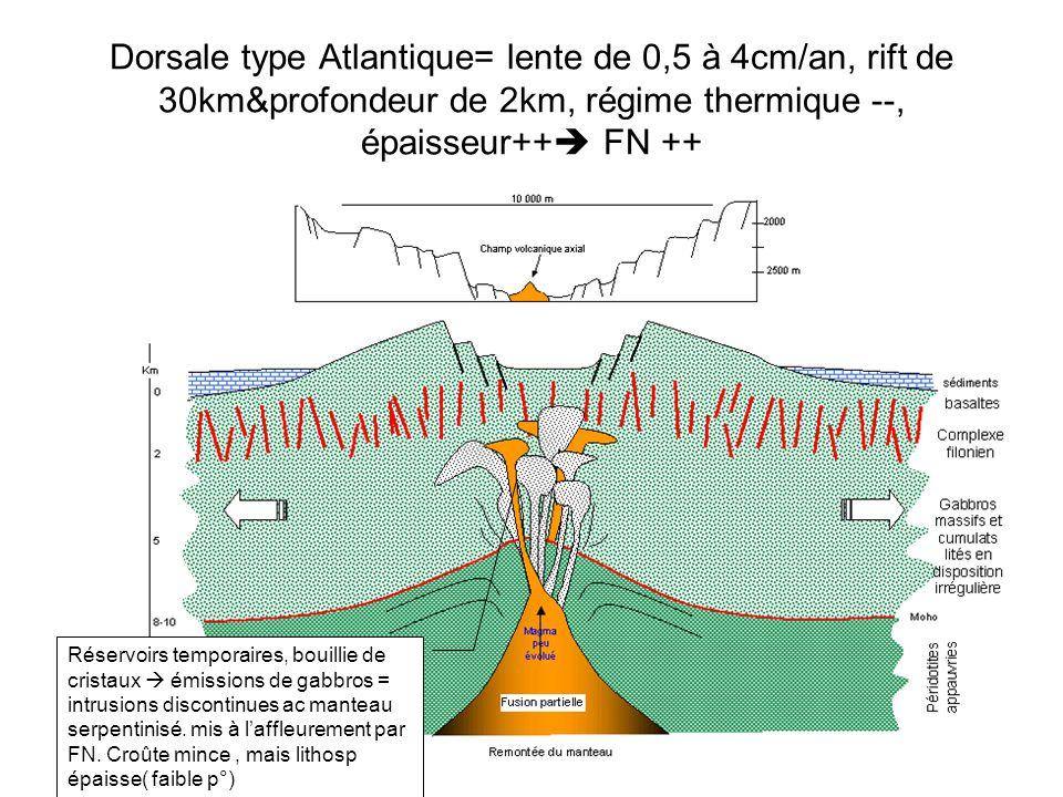 Dorsale type Atlantique= lente de 0,5 à 4cm/an, rift de 30km&profondeur de 2km, régime thermique --, épaisseur++ FN ++
