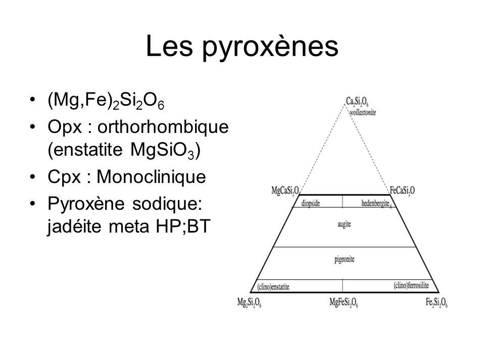 Les pyroxènes (Mg,Fe)2Si2O6 Opx : orthorhombique (enstatite MgSiO3)