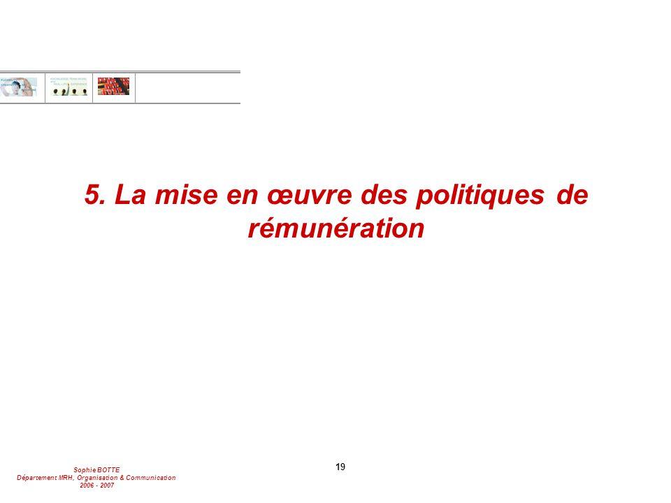 5. La mise en œuvre des politiques de rémunération