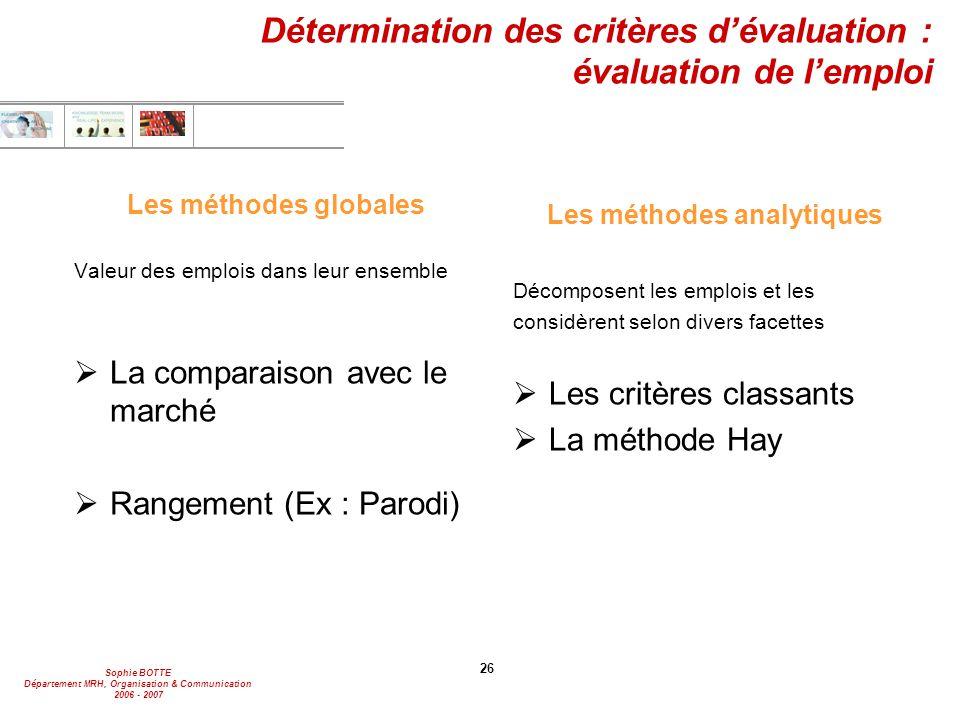 Détermination des critères d'évaluation : évaluation de l'emploi