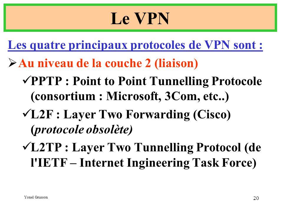 Le VPN Les quatre principaux protocoles de VPN sont :