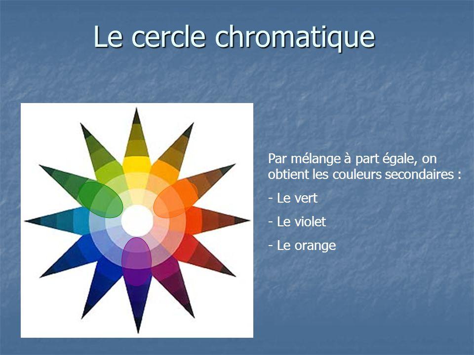 Le cercle chromatique Par mélange à part égale, on obtient les couleurs secondaires : - Le vert. - Le violet.