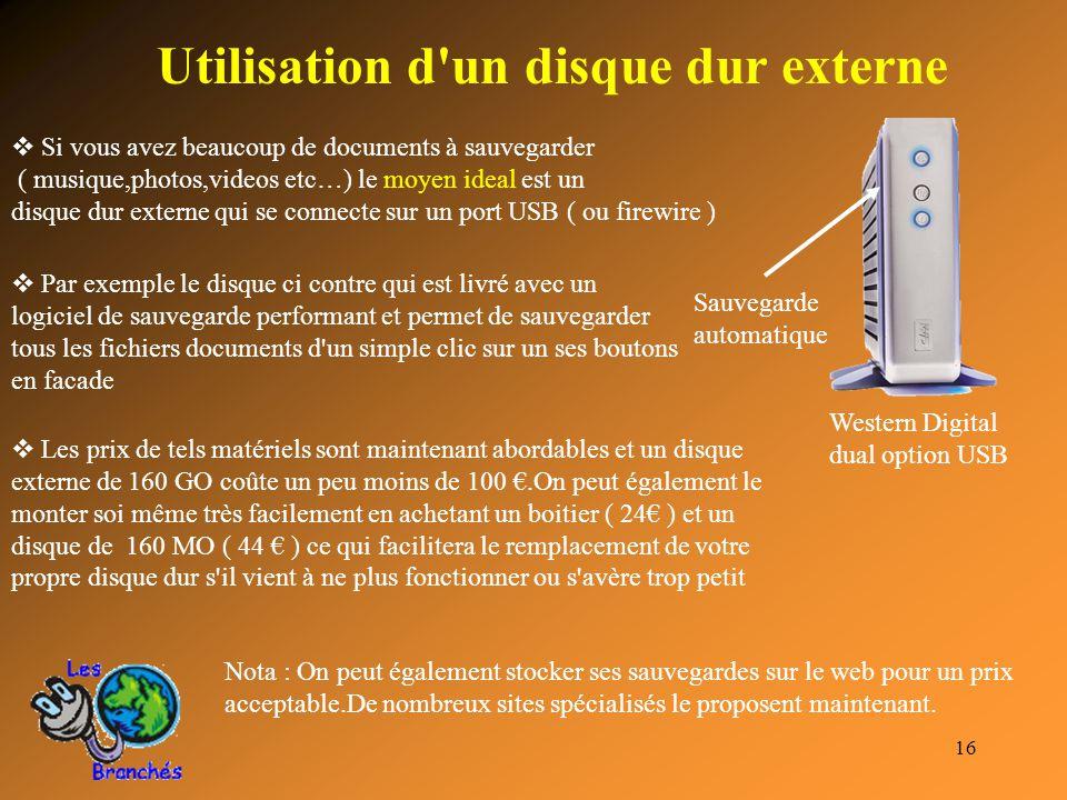 Utilisation d un disque dur externe