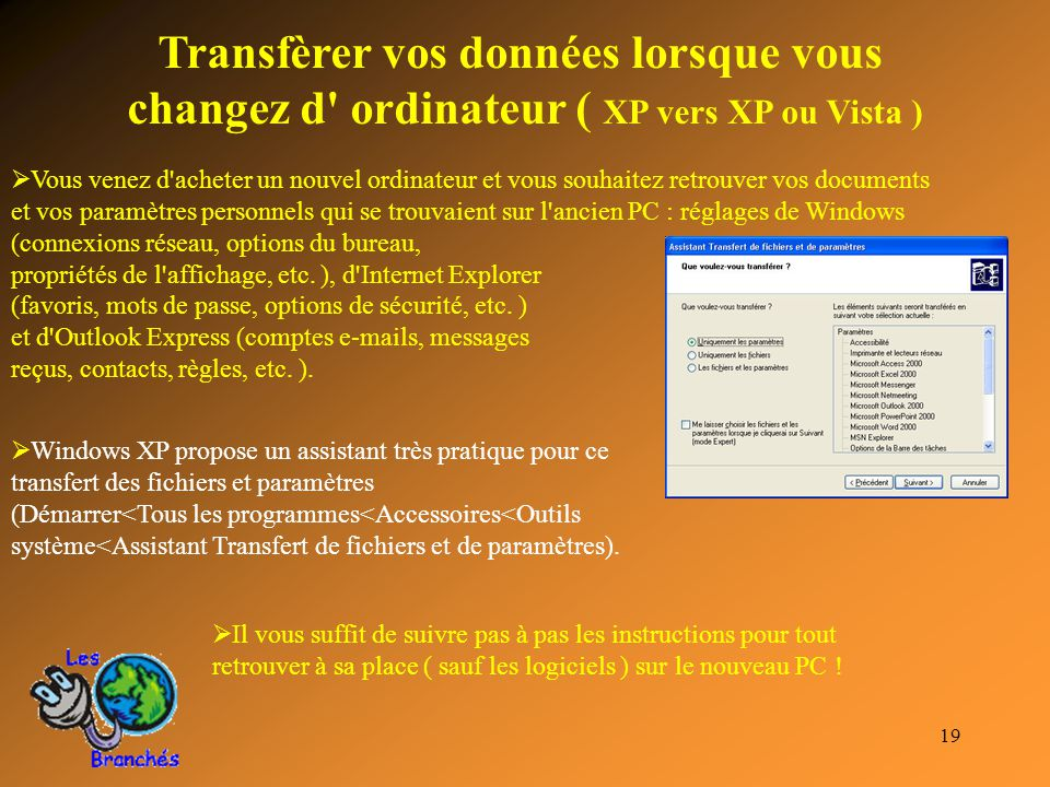 Transfèrer vos données lorsque vous changez d ordinateur ( XP vers XP ou Vista )