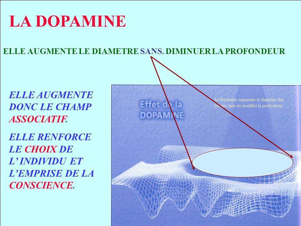 LA DOPAMINE ELLE AUGMENTE DONC LE CHAMP ASSOCIATIF.