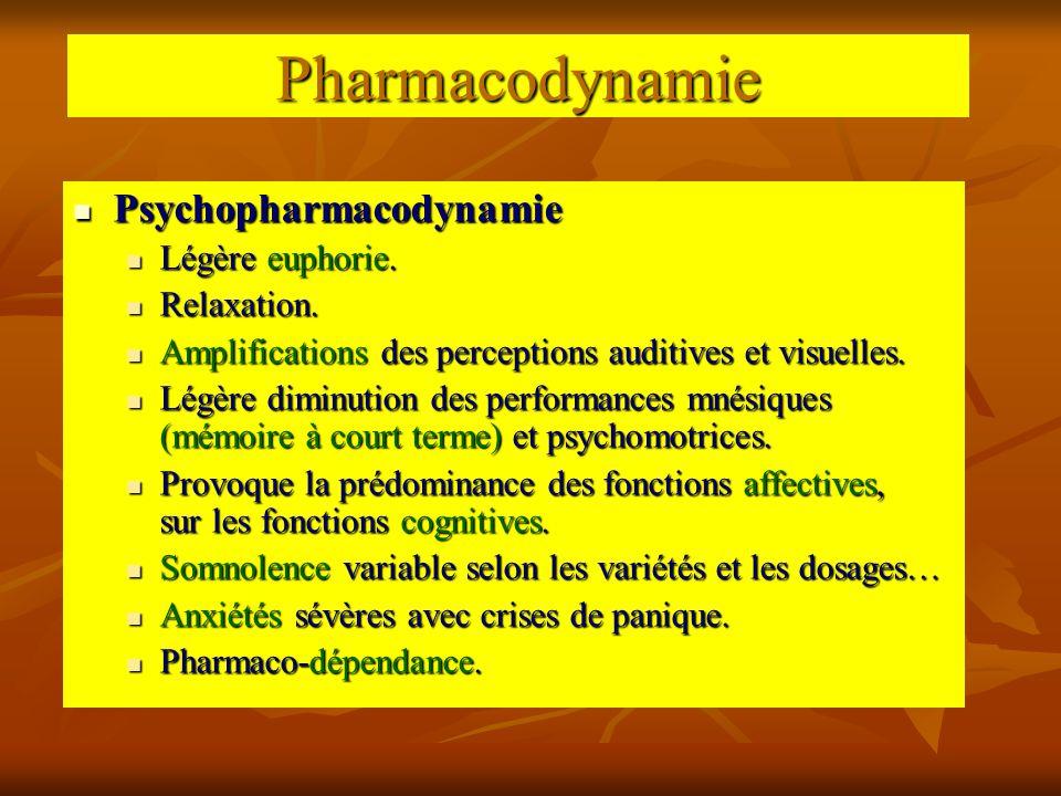 Pharmacodynamie Psychopharmacodynamie Légère euphorie. Relaxation.