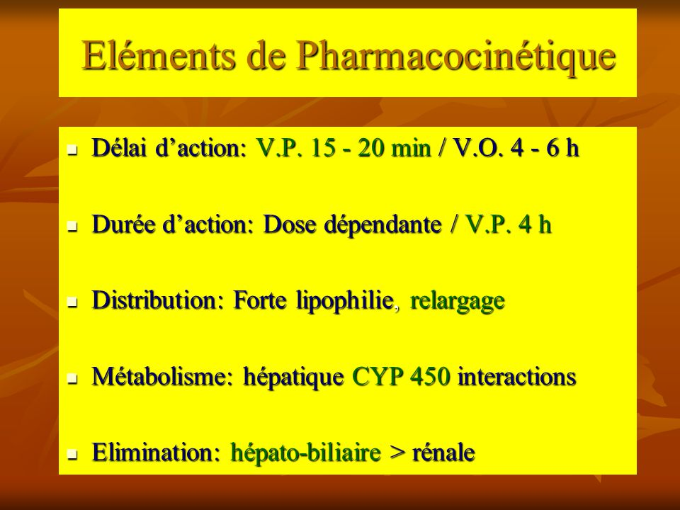 Eléments de Pharmacocinétique