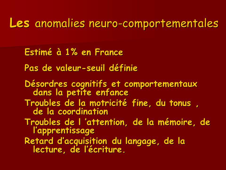 Les anomalies neuro-comportementales