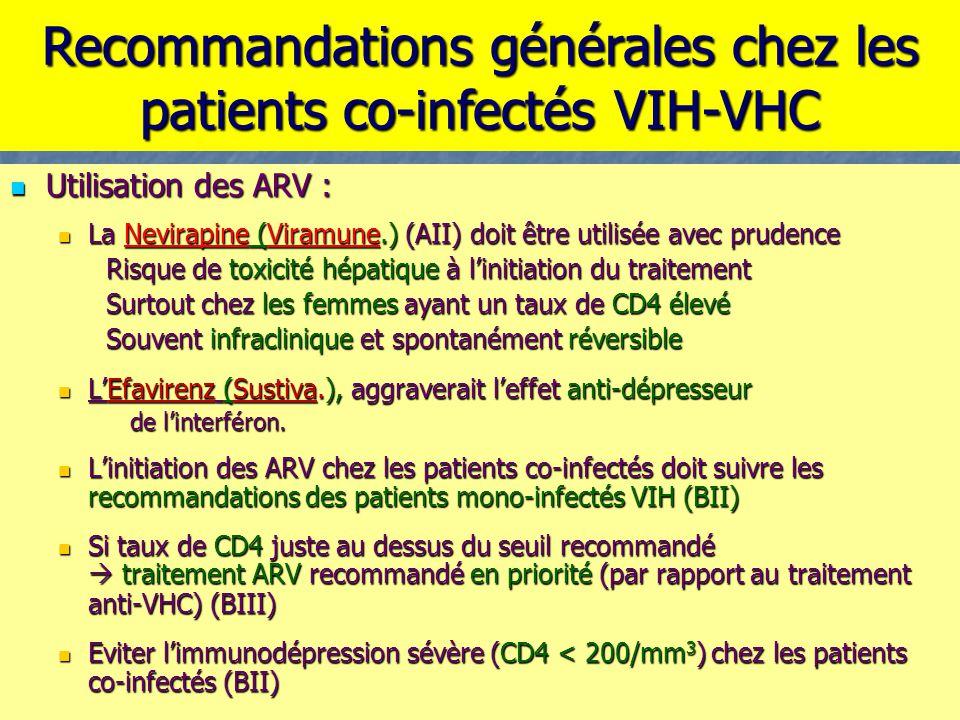 Recommandations générales chez les patients co-infectés VIH-VHC