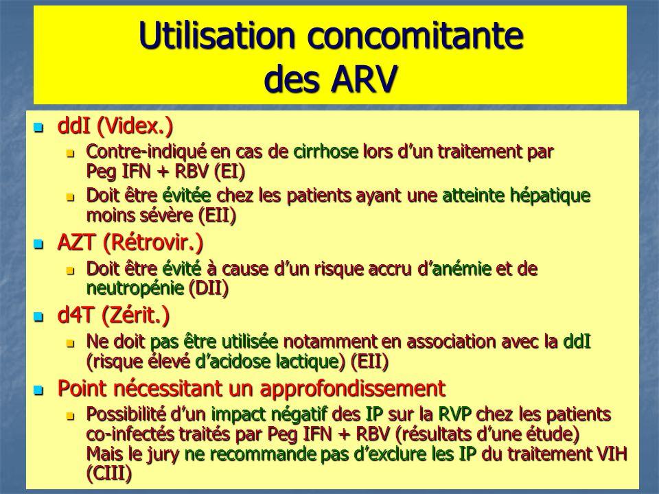 Utilisation concomitante des ARV