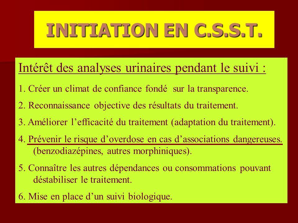 INITIATION EN C.S.S.T. Intérêt des analyses urinaires pendant le suivi : 1. Créer un climat de confiance fondé sur la transparence.