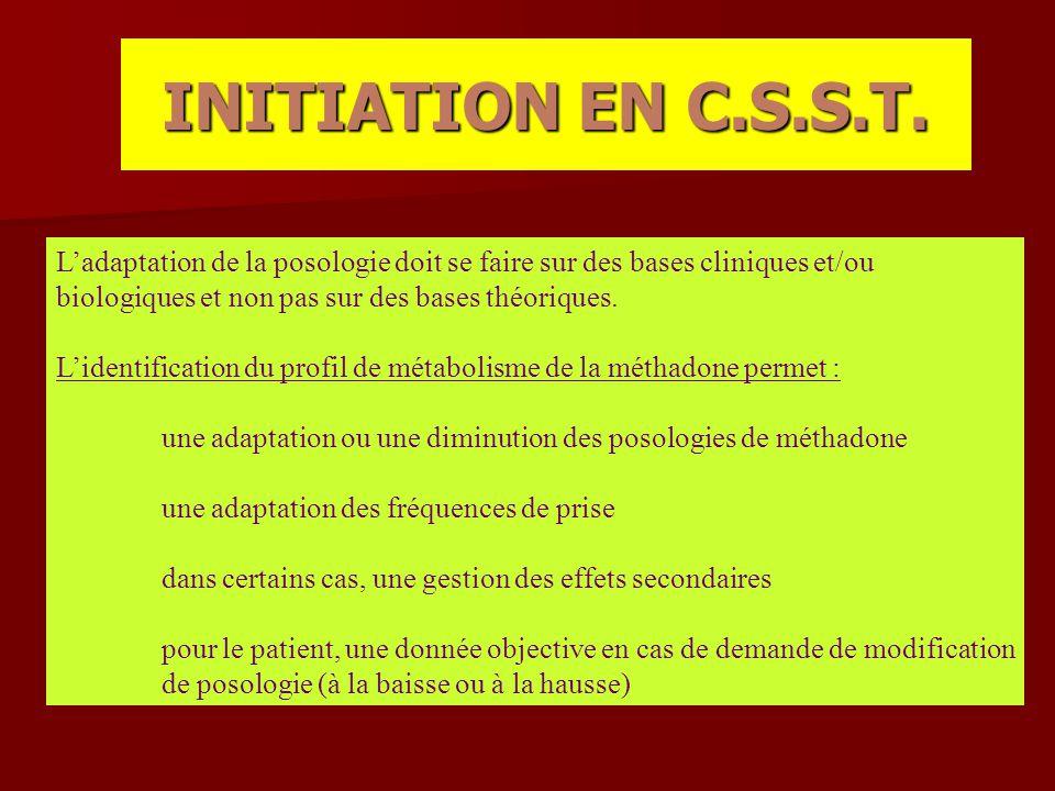 INITIATION EN C.S.S.T. L'adaptation de la posologie doit se faire sur des bases cliniques et/ou. biologiques et non pas sur des bases théoriques.