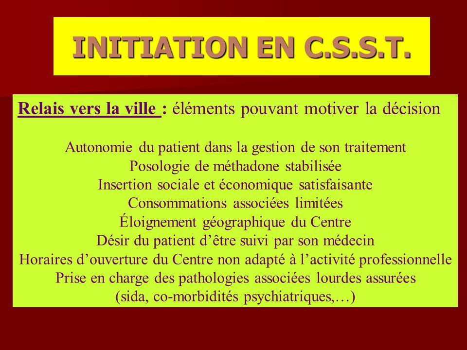 INITIATION EN C.S.S.T. Relais vers la ville : éléments pouvant motiver la décision. Autonomie du patient dans la gestion de son traitement.