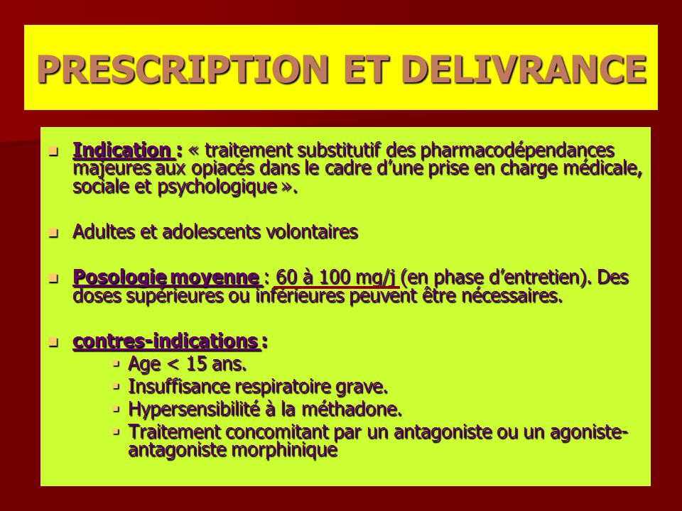 PRESCRIPTION ET DELIVRANCE
