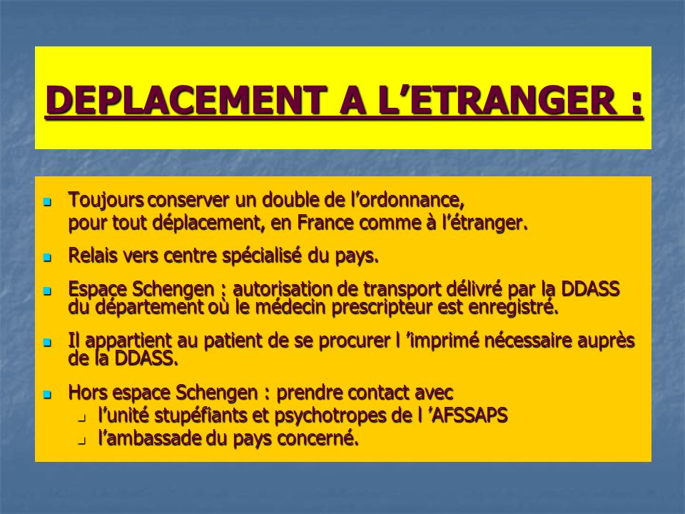 DEPLACEMENT A L'ETRANGER :
