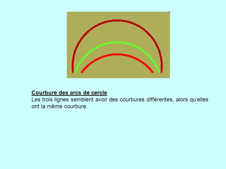 Courbure des arcs de cercle Les trois lignes semblent avoir des courbures différentes, alors qu'elles ont la même courbure.