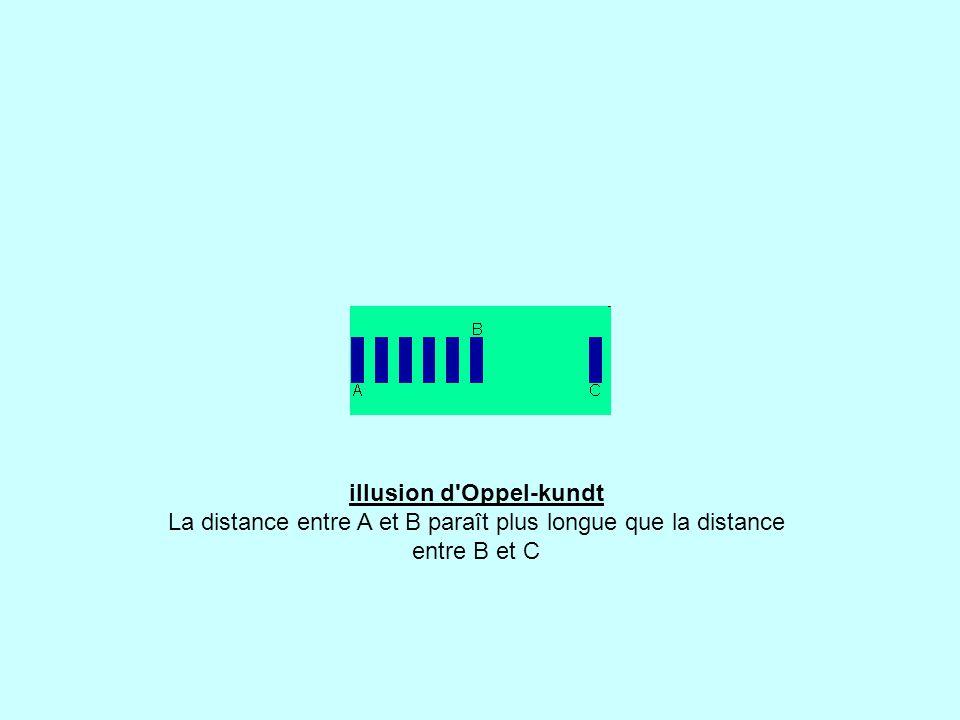 illusion d Oppel-kundt La distance entre A et B paraît plus longue que la distance entre B et C