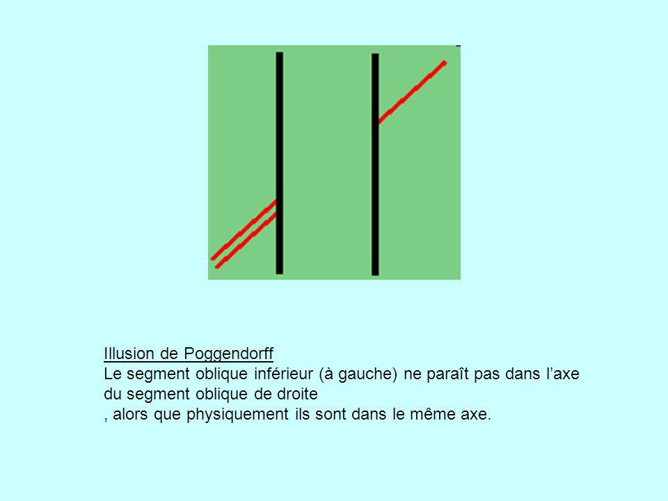 Illusion de Poggendorff Le segment oblique inférieur (à gauche) ne paraît pas dans l'axe du segment oblique de droite , alors que physiquement ils sont dans le même axe.