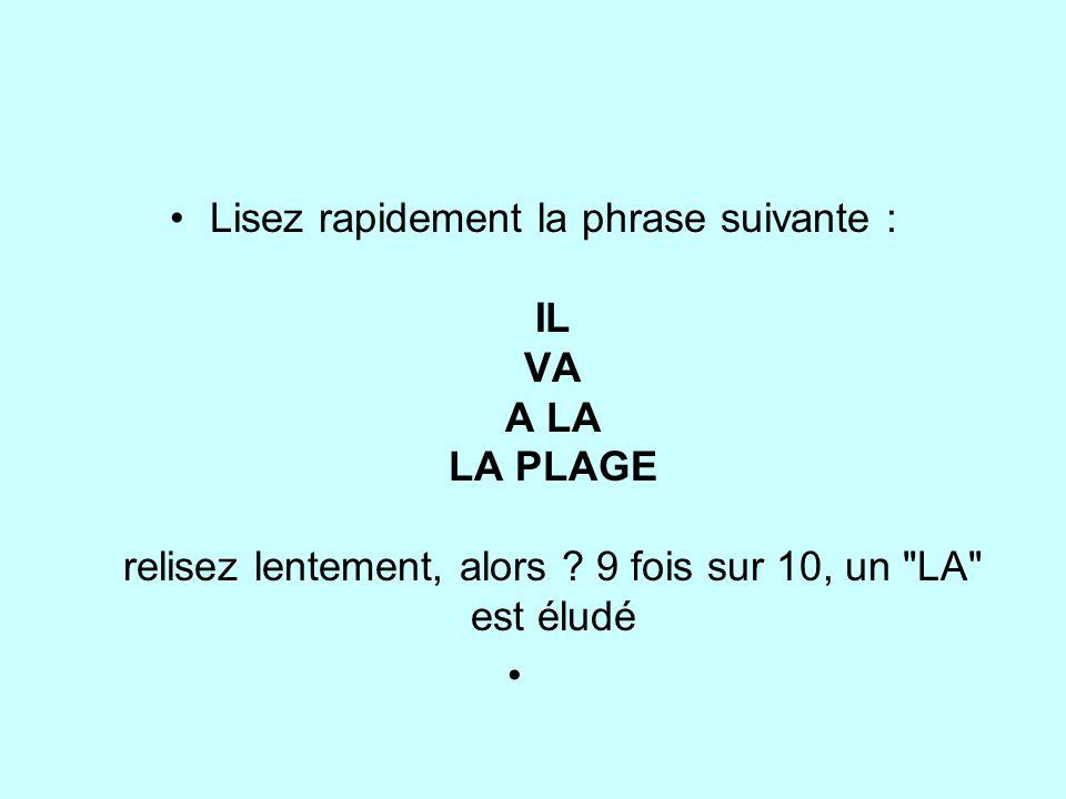 Lisez rapidement la phrase suivante : IL VA A LA LA PLAGE relisez lentement, alors 9 fois sur 10, un LA est éludé