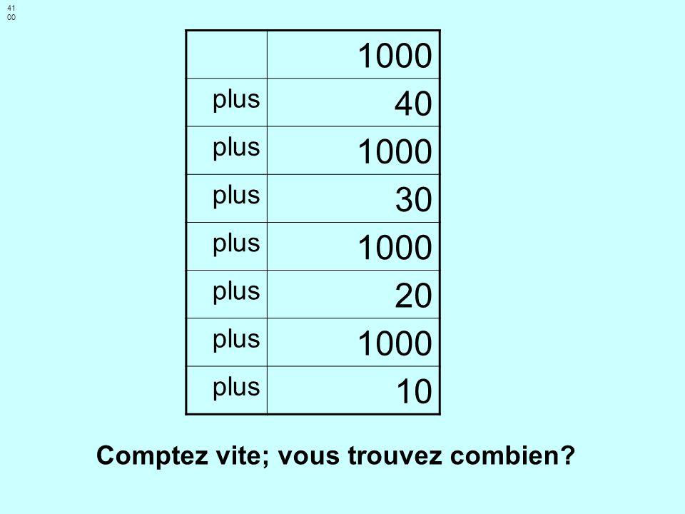 4100 1000 plus 40 30 20 10 Comptez vite; vous trouvez combien