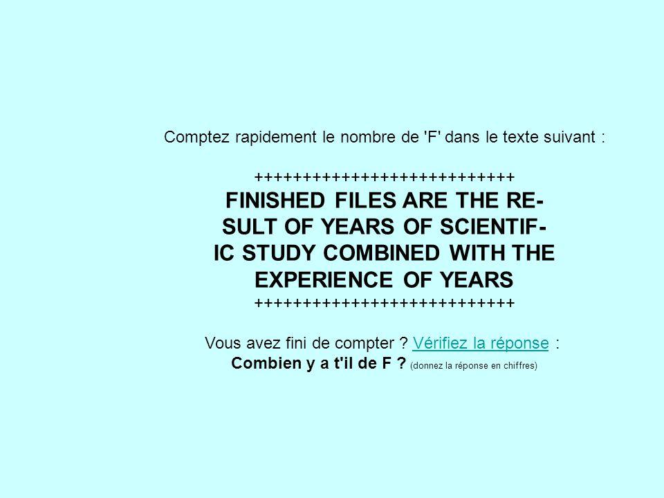 Combien y a t il de F (donnez la réponse en chiffres)